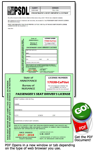 PASSENGER'S SEAT DRIVER'S LICENSE