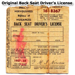 Back Seat Driver's License Original